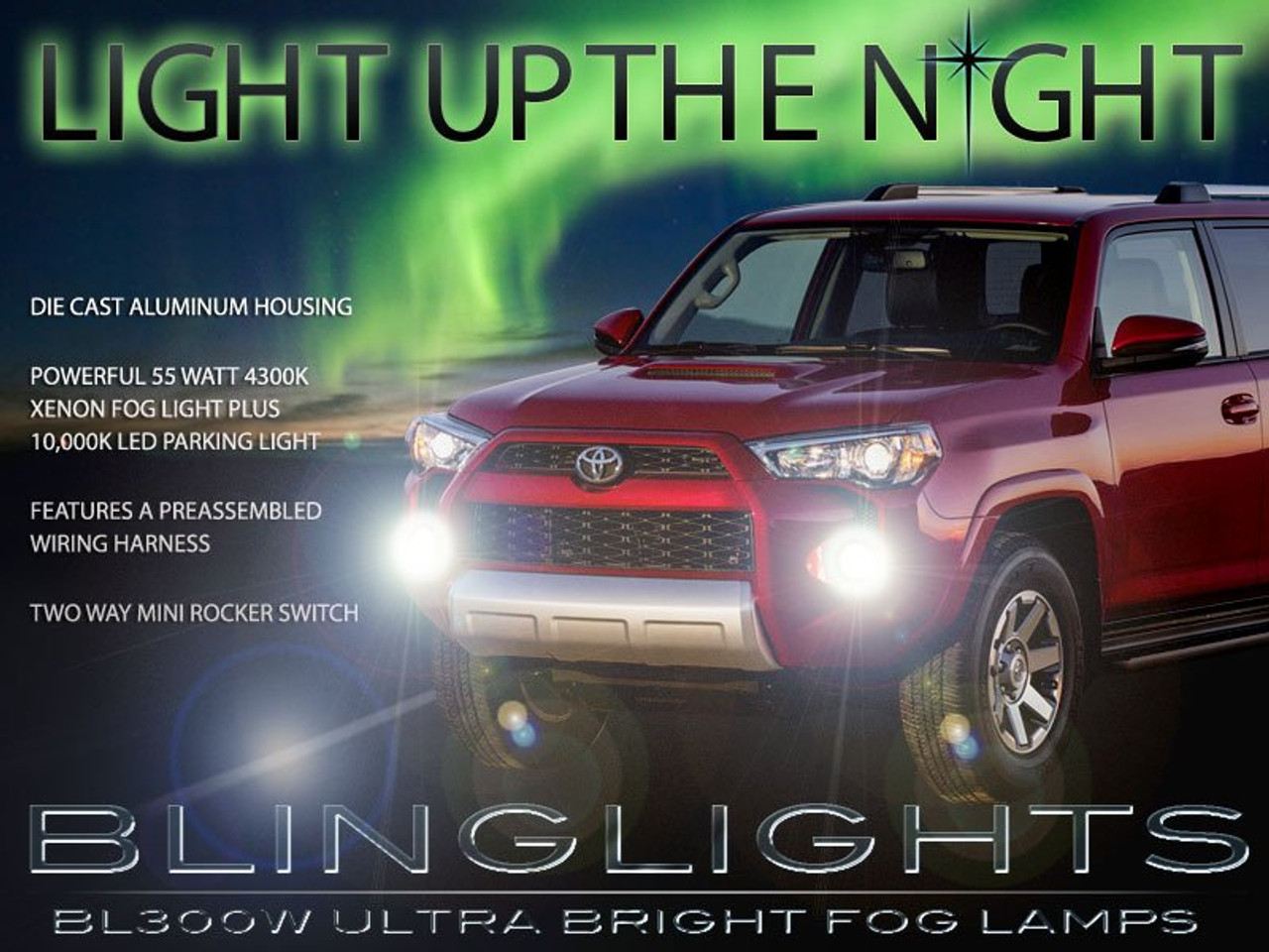 BlingLights Fog Lamps Driving Lights Kit for 2014-2021 Toyota 4Runner
