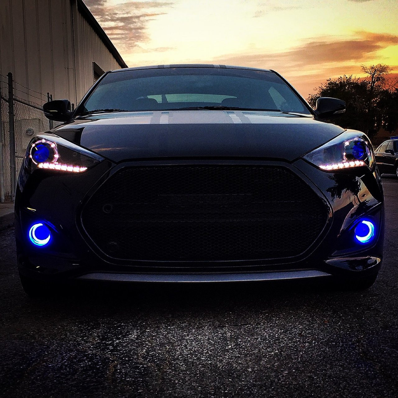 White LED Halo Fog Lamps Angel Eye Lights Kit For 2013-2018 Hyundai Veloster Turbo