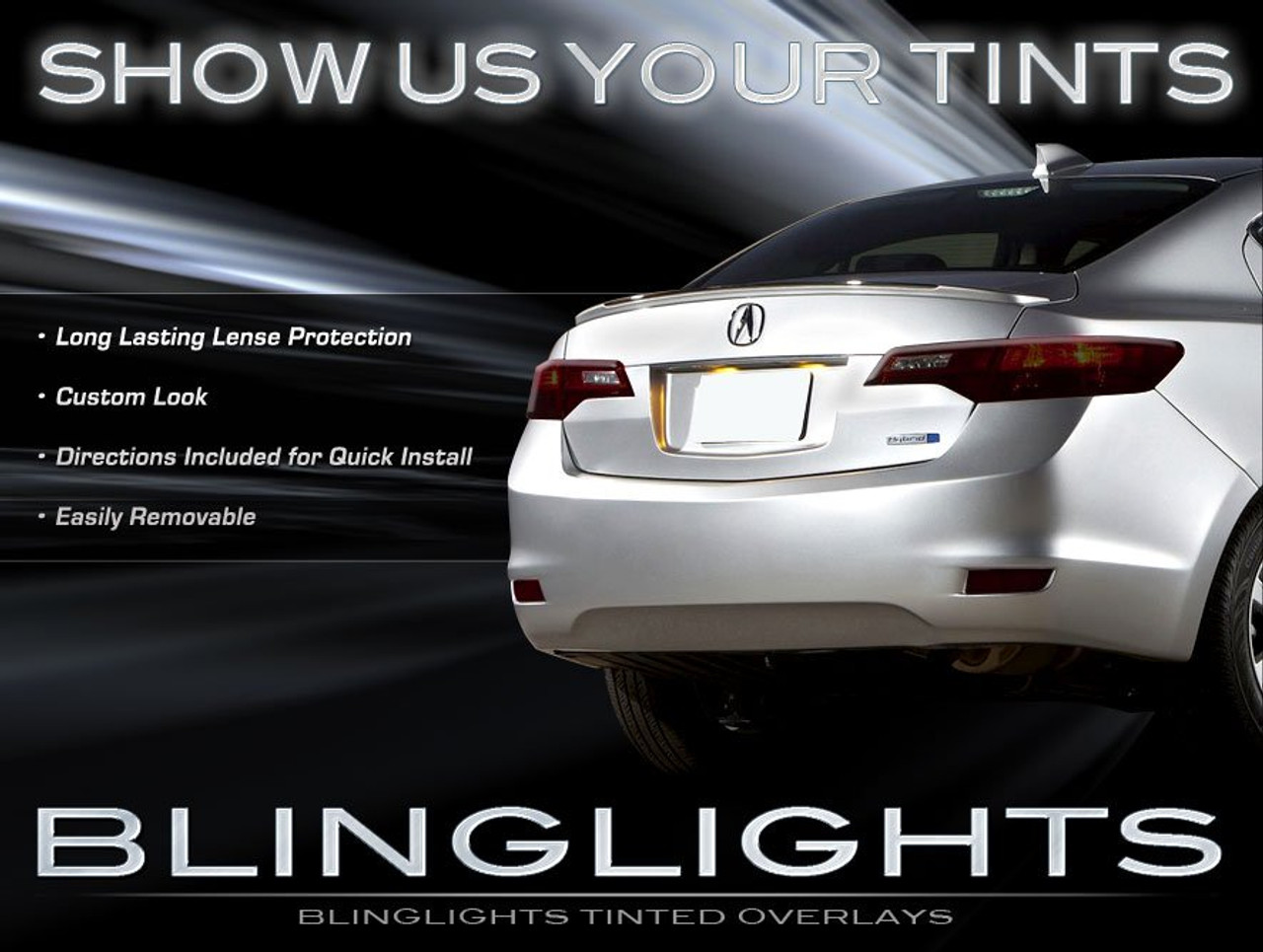 Acura Ilx Tinted Smoked Taillamps Taillights Overlays Film Protection Blinglights Com