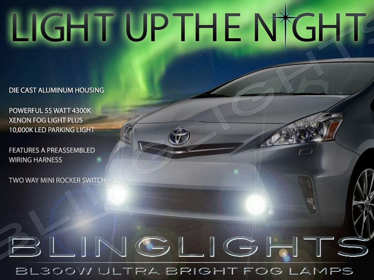 2012 2013 2014 Prius V Fog Lamp Driving Lights Kit Toyota Xenon