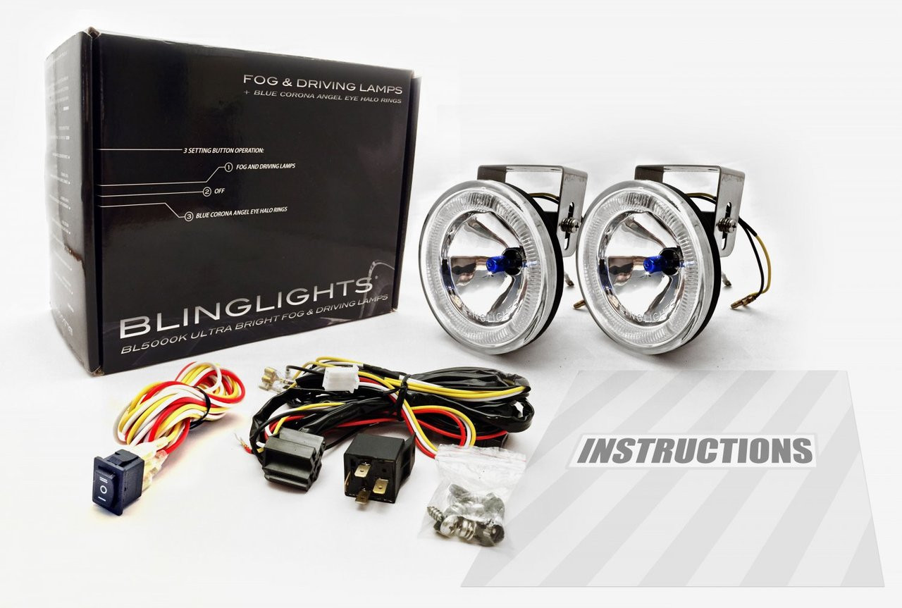 2001 2002 2003 Hyundai Elantra GLS Blue Halo Angel Eye Fog Lamps Lights Kit