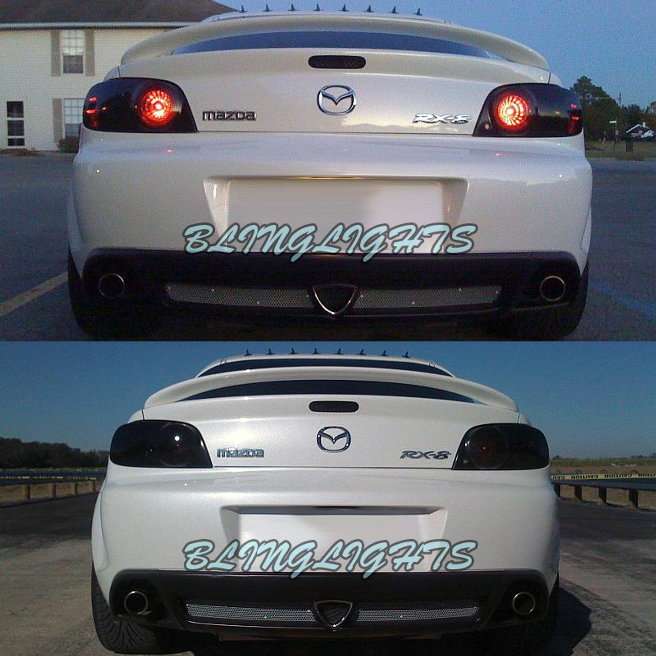 Mazda RX-8 RX8 Tinted Smoked Protection Overlays Film for Taillamps Taillights Tail Lamps Lights