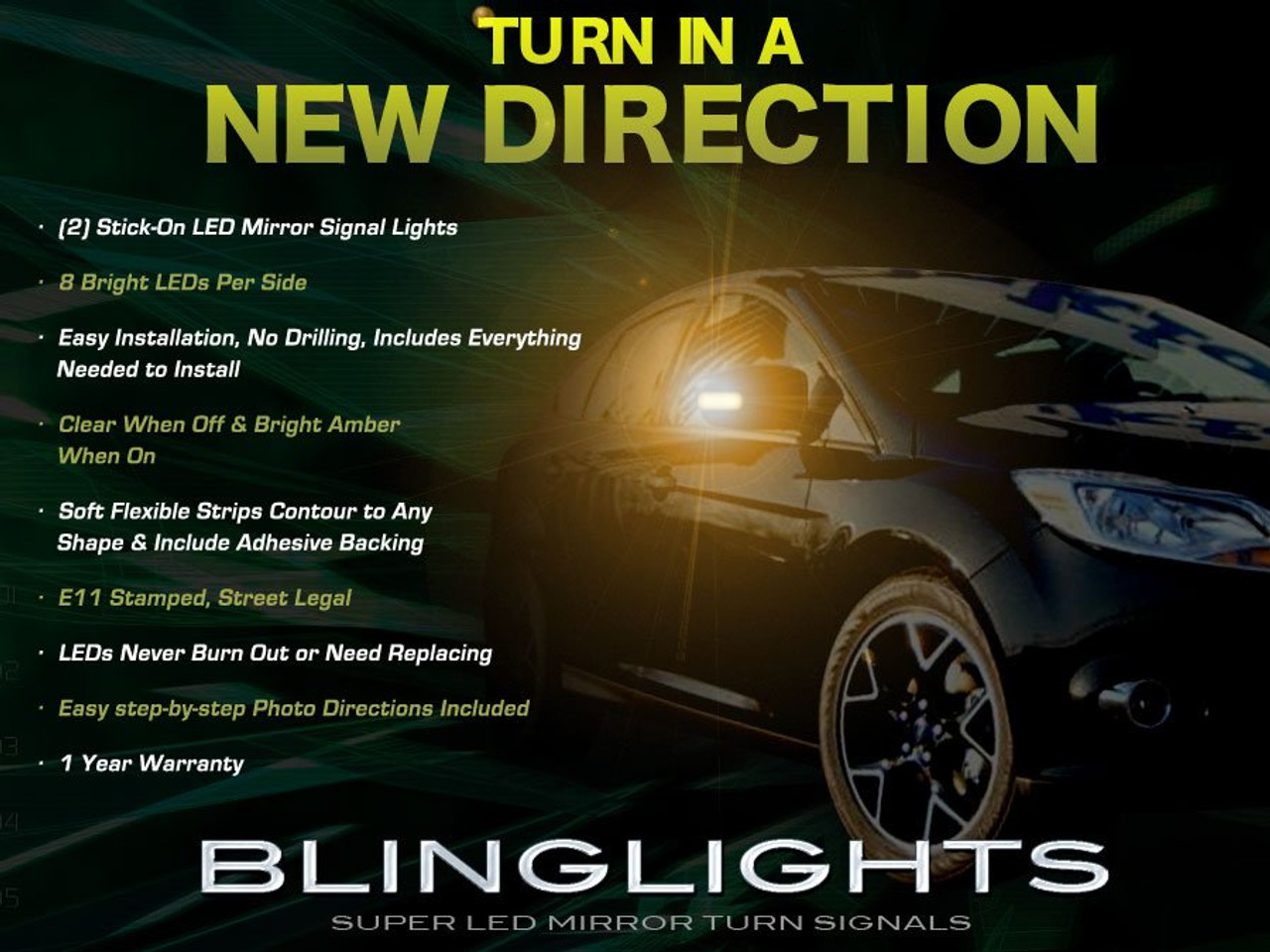 Ford Focus Led Side Mirrors Turnsignals Lights Accents Turn Signals Lamps Mirror Signalers