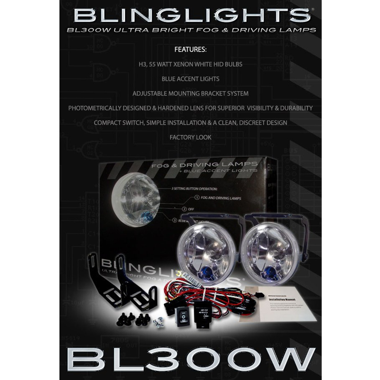 1997 1998 1999 2000 2001 2002 2003 2004 2005 Volvo C70 Xenon Fog Lamps Driving Lights Foglamps Kit