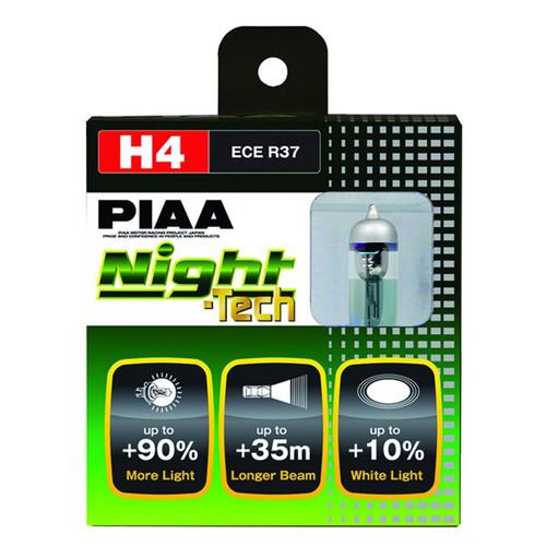 PIAA H4 Night Tech 3600K Xtra 60/55w=110/100w Light Bulbs Set of 2
