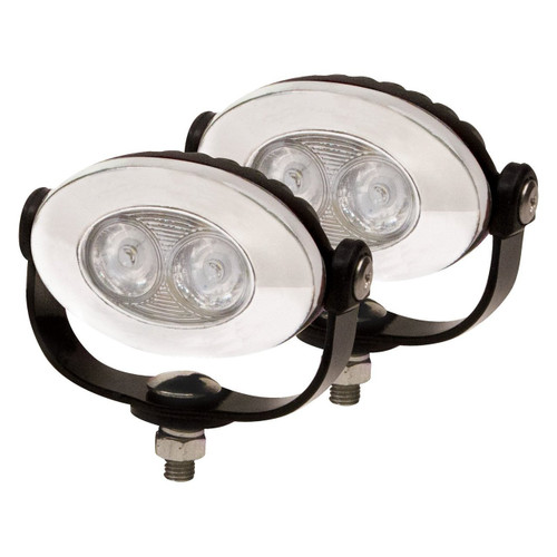 Harley-Davidson Street Glide 6000K LED Auxiliary Chrome Flood Lights Lamps