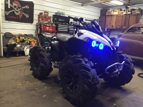 4x Blue LED Can-Am ATV UTV Addon Angel Eye Headlamp Headlight Halo Rings