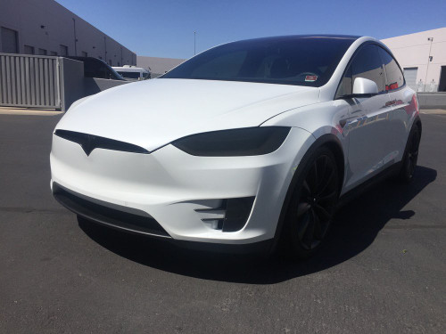 Tesla Model X Head And Fog Lamp Tint Film Headlight Murdered Out Vinyl Overlays