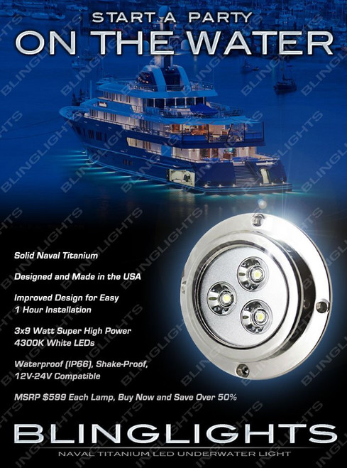 1 x White LED Titanium Hull Lamp Yacht Boat Underwater Light Marine Fish Lighting