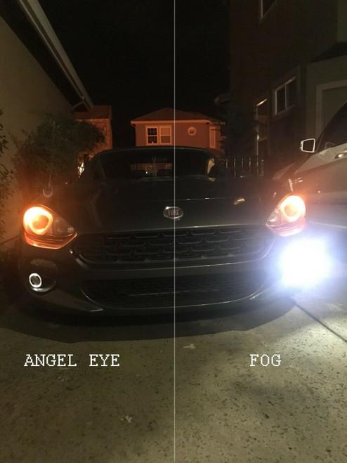 LED Angel Eye Halo Fog Lamps Lights Kit for 2017 2018 2019 2020 Fiat 124