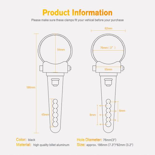 3in Bar P-Clamp Fog Lamp Driving Light Mounting Bracket Set BlingLights BL76M2CP