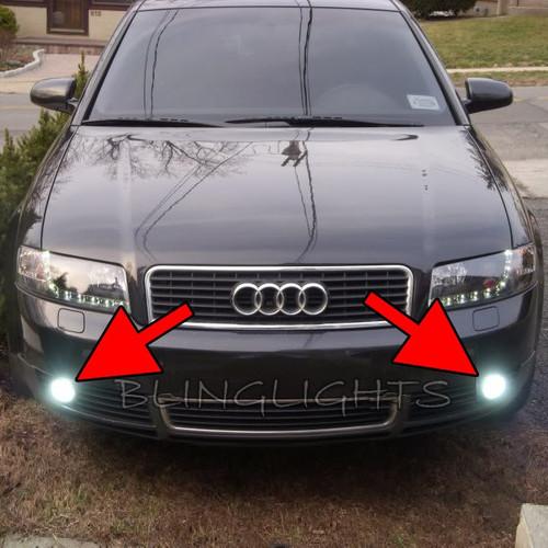 White LED Halo Fog Lamps Driving Lights For 2002 2003 2004 2005 Audi A4 Foglamps Foglights Drivinglights Kit