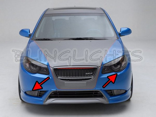 2007-2010 Hyundai Elantra Tinted Smoked Head Light Lamps Overlays Film Protection