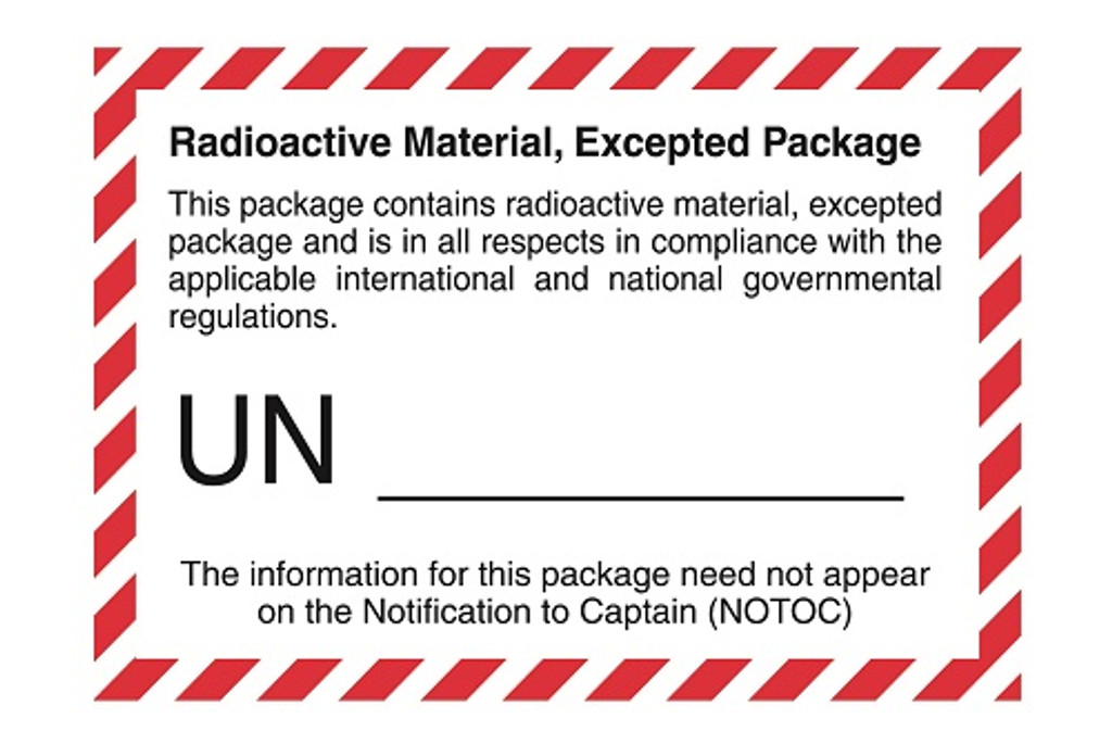 Radioactive Material, Excepted Package (with UN Number printed)