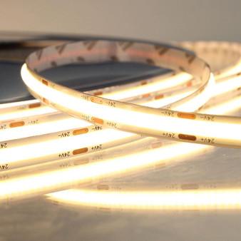 Pro Series Spot Free COB Continuous LED Tape, 24V, 11.2Wp/m 820LM, 90 CRI, Very Warm White 2700K, 5M reel
