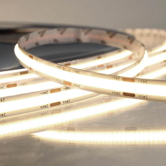 Pro Series Spot Free COB Continuous LED Tape, 24V, 11.2Wp/m 900LM, 90 CRI, Warm White 3000K, 5M reel
