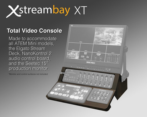 The Xstreambay XT is a total streaming console.  It is made to accommodate all ATEM Mini model, a Korg NanoKontrol2 audio control surface, the Elgato Stream Deck, and the Seetec 15 inch production monitor.