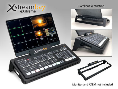 The Xstreambay eXstreme console is made to accommodate ATEM Mini Extreme and Exstreme ISO switchers, and is made with a monitor mount to accommodate the thin line of 13 and 15 inch monitors with a thickness of .4 inches.  The console is very well ventilated with two ports on the front, two on the side, and a wide open back side.