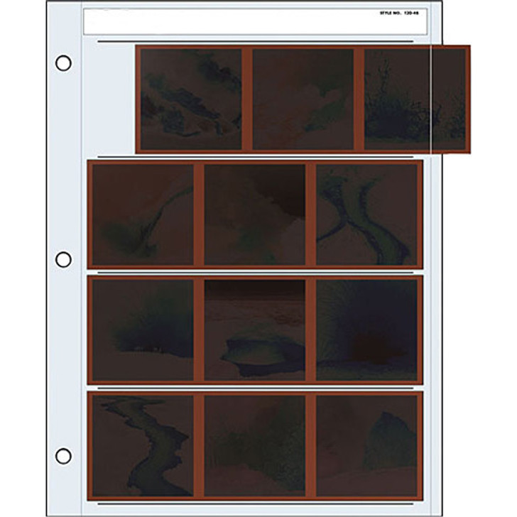 Print File 120-4B Archival Storage Page for Negatives, 6x6cm, 4-Strips of 3-Frames A4 size
