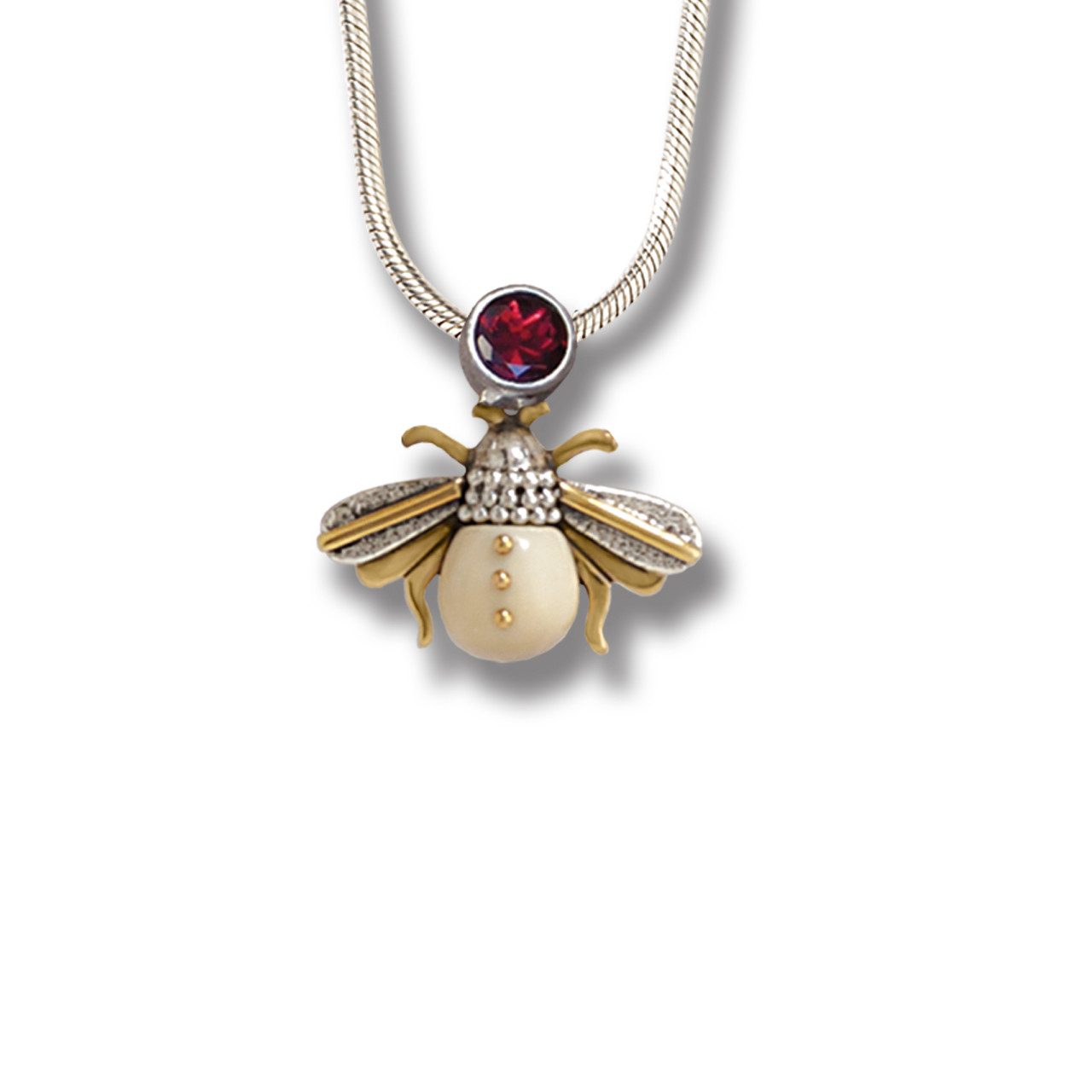 fd29b683c Fossilized Walrus Tusk Silver Bee Pendant Necklace, 14kt Gold Fill and  Garnet - Bee