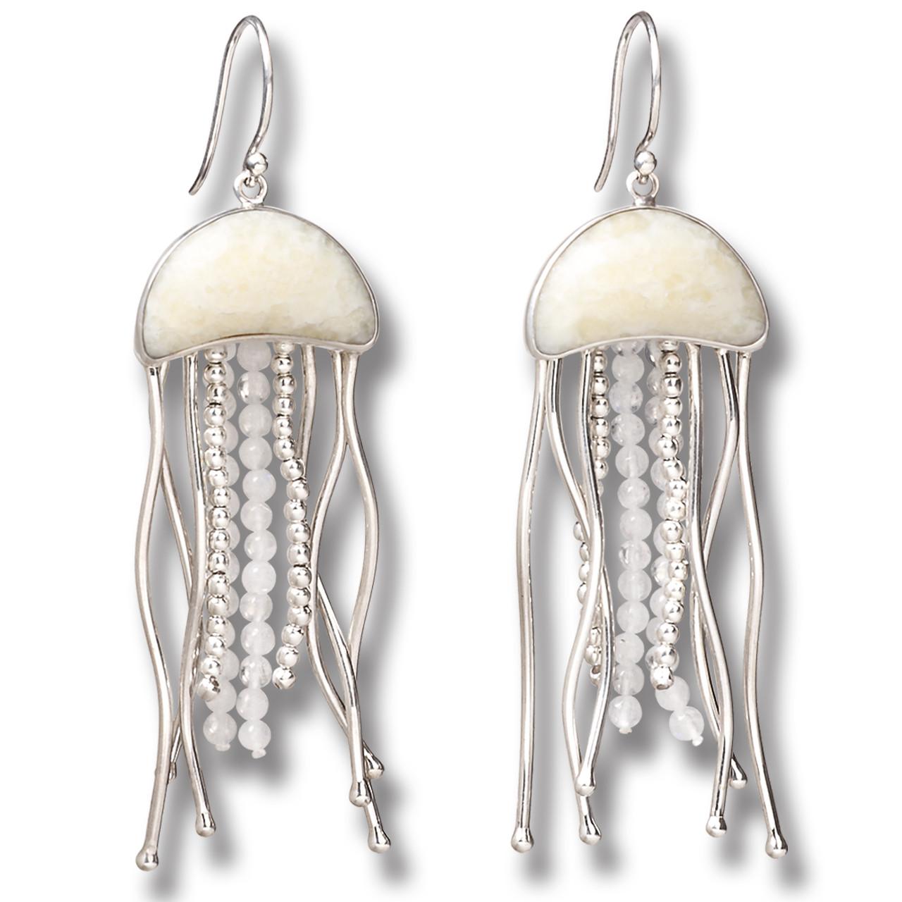 8ab568543 Fossilized Walrus Ivory Jelly Fish Earrings, Rainbow Moonstone Handmade  Silver - Jelly Fish