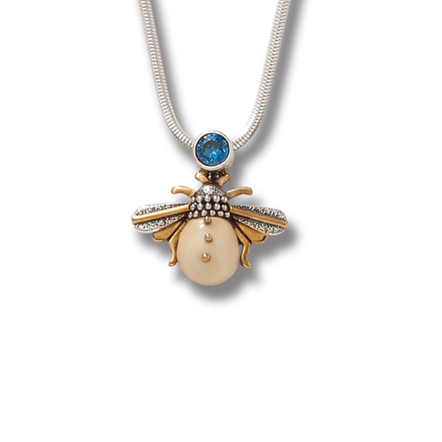 6e41331c5 Fossilized Ivory Silver Honeybee Pendant with Blue Topaz – Blue Bee