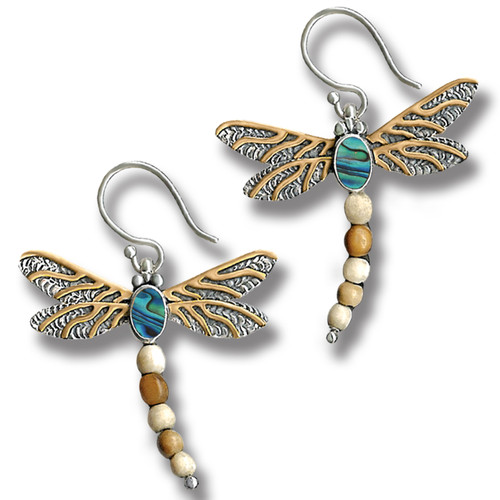 da2cbc1c5 Fossilized Walrus Ivory Dragonfly Earrings Silver with Paua and 14kt Gold  Fill - Dragonfly II