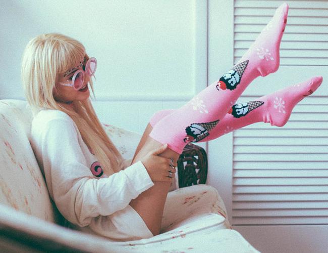 I Hate Blonde wearing Chrissy's Socks
