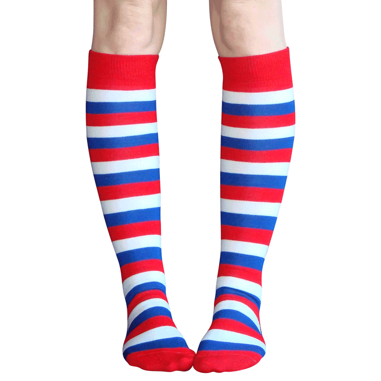 striped red white and blue knee socks