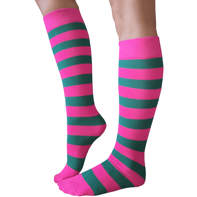 pink and teal striped knee highs