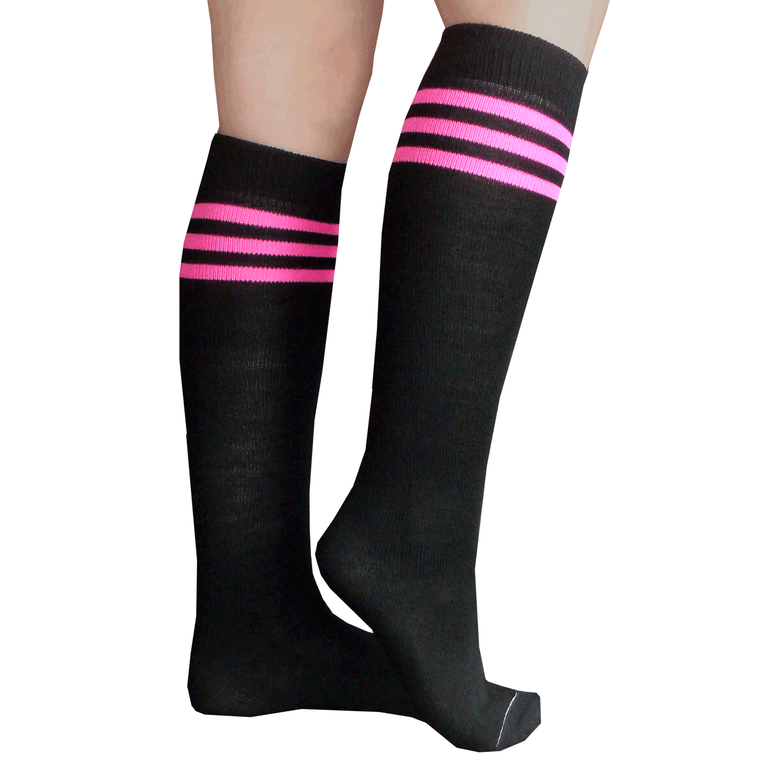 black and neon pink striped tube socks
