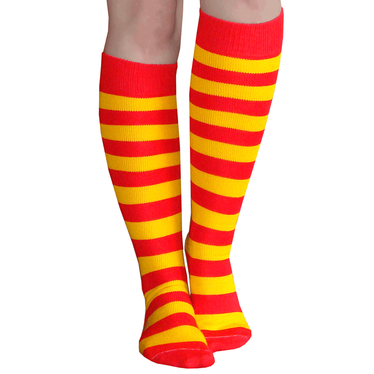 red and gold striped high socks