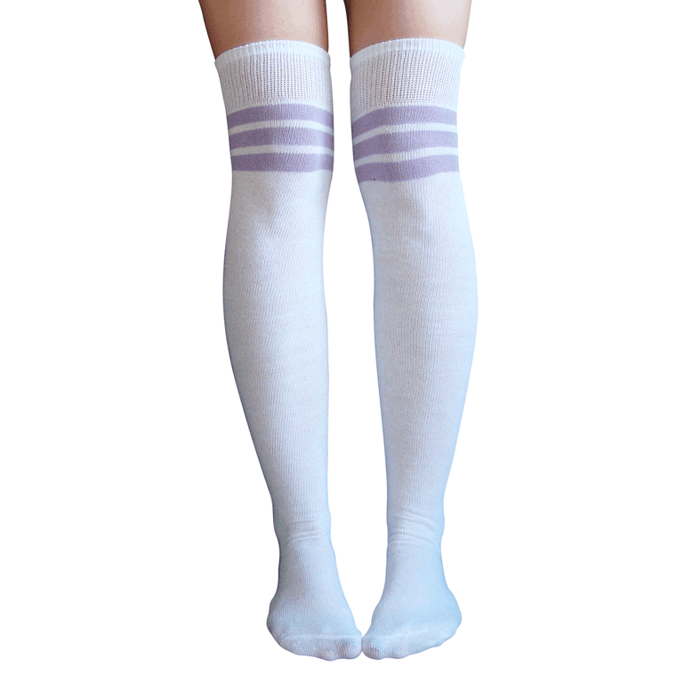 white/lilac thigh highs