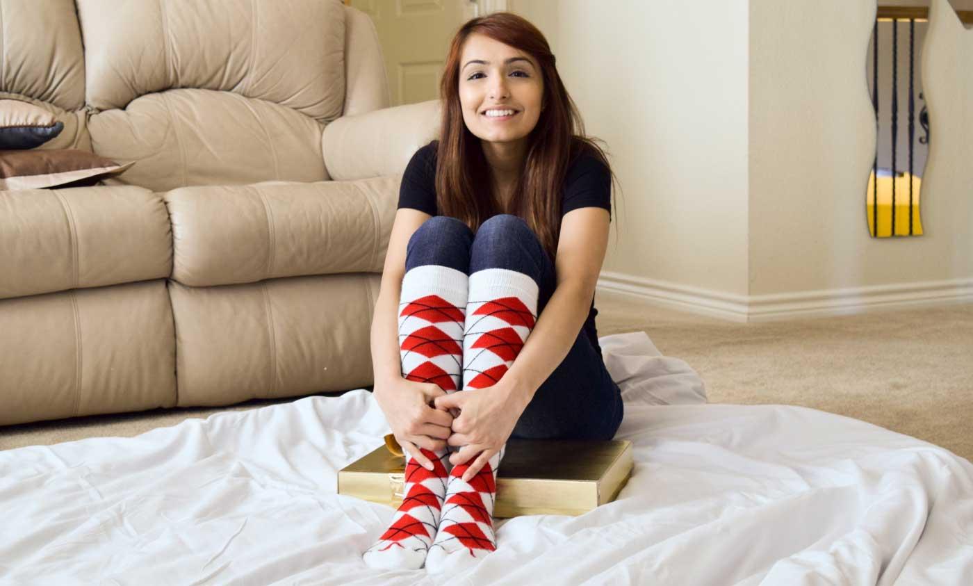 Red Argyle Socks (Made in USA)