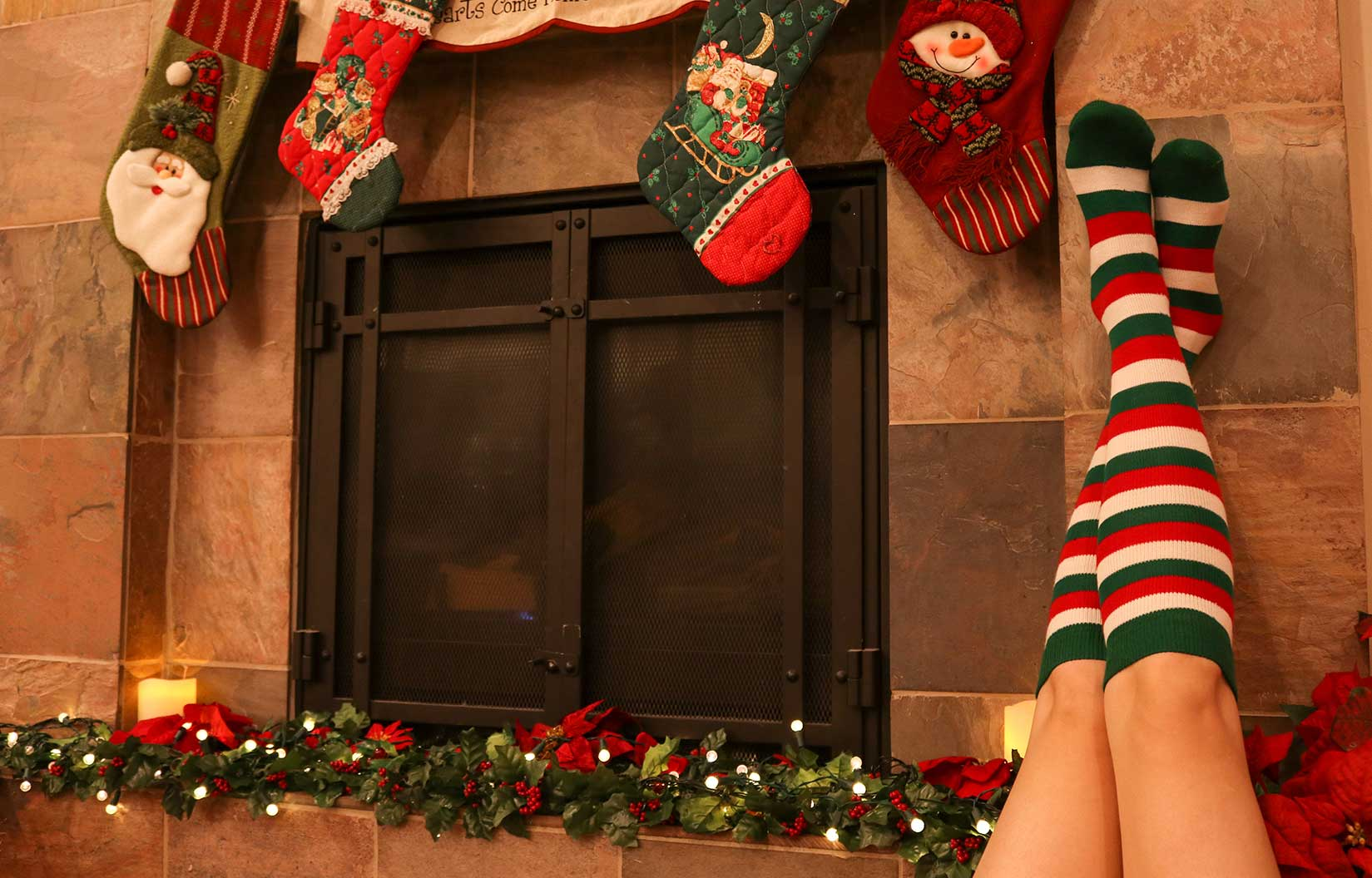 Christmas striped socks (red, white and green)