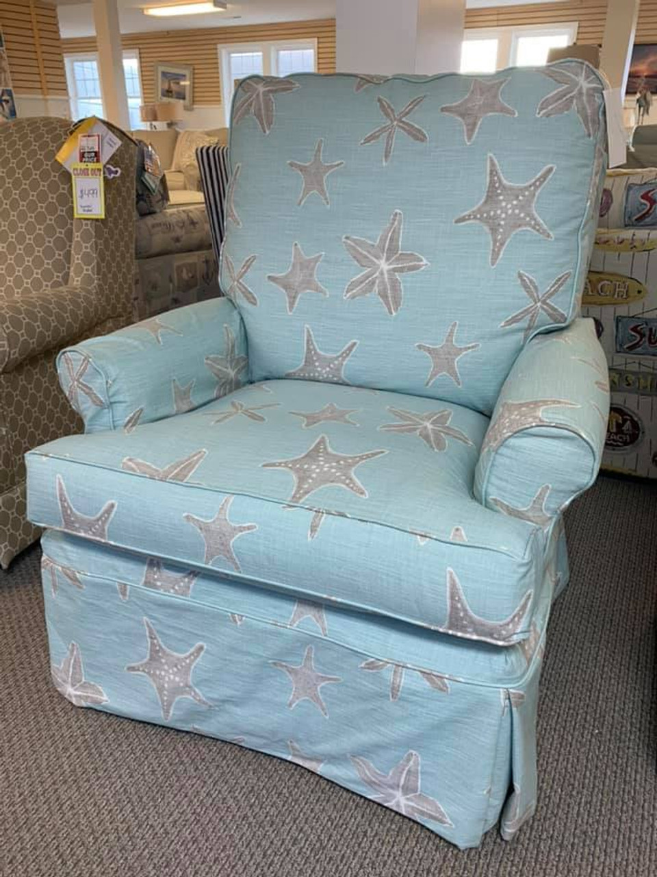 Ac81xlg Aiden Swivel Glider Sealife Blue Slipcover Manteo Furniture Appliance
