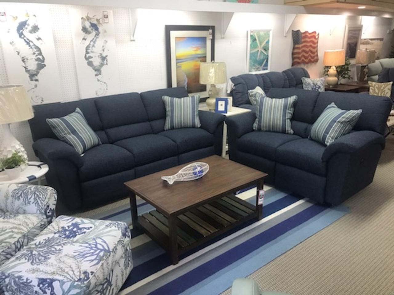 Image of: Reese Reclining Blue Sofa Manteo Furniture Appliance