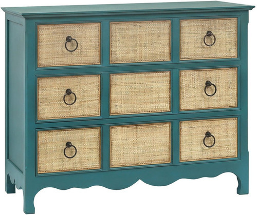 Barefoot 3 Dr Chest - Deep Turquoise with Rafia drawers