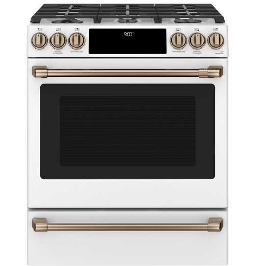 "Café™ 30"" Smart Slide-In, Front-Control, Dual-Fuel Range with Warming Drawer C2S900P4MW2"
