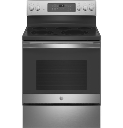 "GE® 30"" Free-Standing Electric Convection Range with No Preheat Air Fry JB735SPSS"