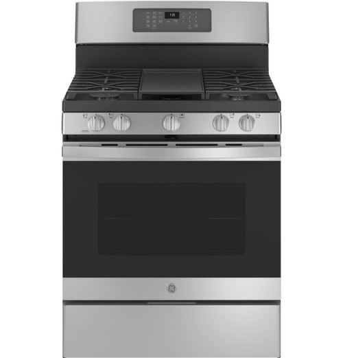 """GE® 30"""" Free-Standing Gas Convection Range with No Preheat Air Fry JGB735SPSS"""