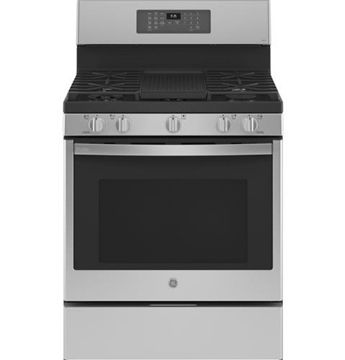 "GE Profile™ 30"" Free-Standing Self Clean Dual-Fuel Fingerprint Resistant Range with Storage Drawer P2B935YPFS"