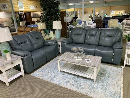 Club Level Power Recline - Chandler Blue Gray