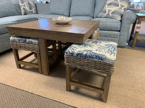 HTC752 Hassock Table w/ Upholstered Ottomans