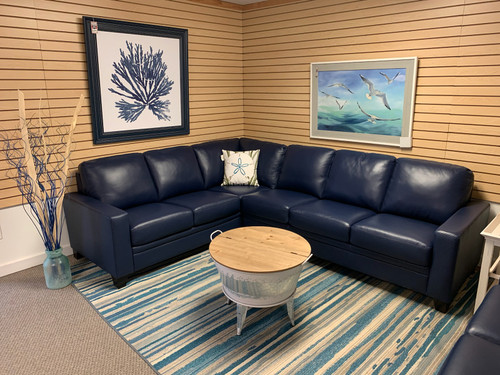 Creighton Sapphire Blue Leather Sectional