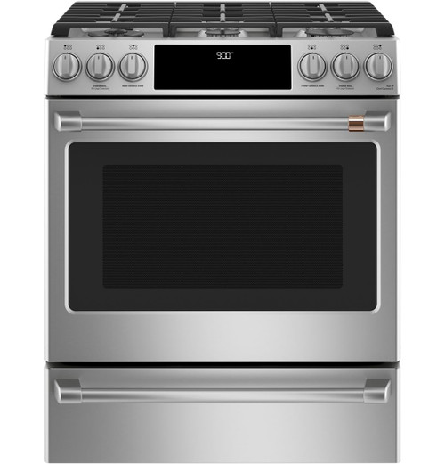 "Café™ 30"" Smart Slide-In, Front-Control, Dual-Fuel Range with Warming Drawer C2S900P2MS1"