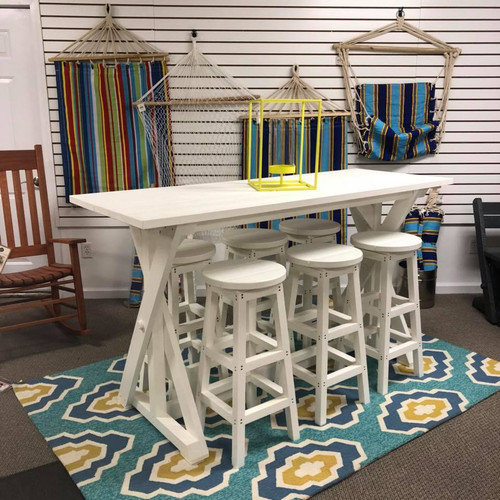 "T202-02 White 72"" Bar Table & Stools"