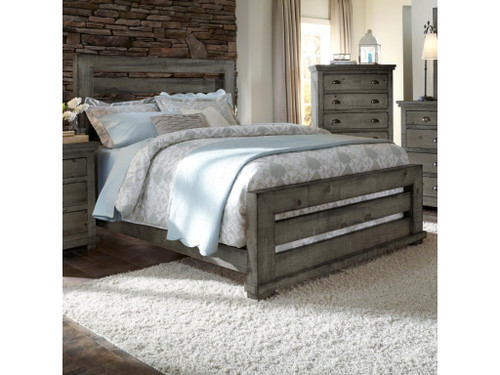 P600 Willow - Distressed Dark Gray Bed