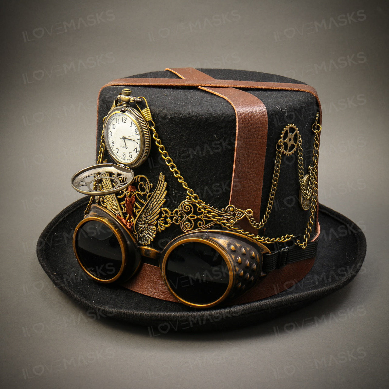 Steampunk Top Hat With Silver Kaleidoscopic Goggles Halloween Cosplay Burningman