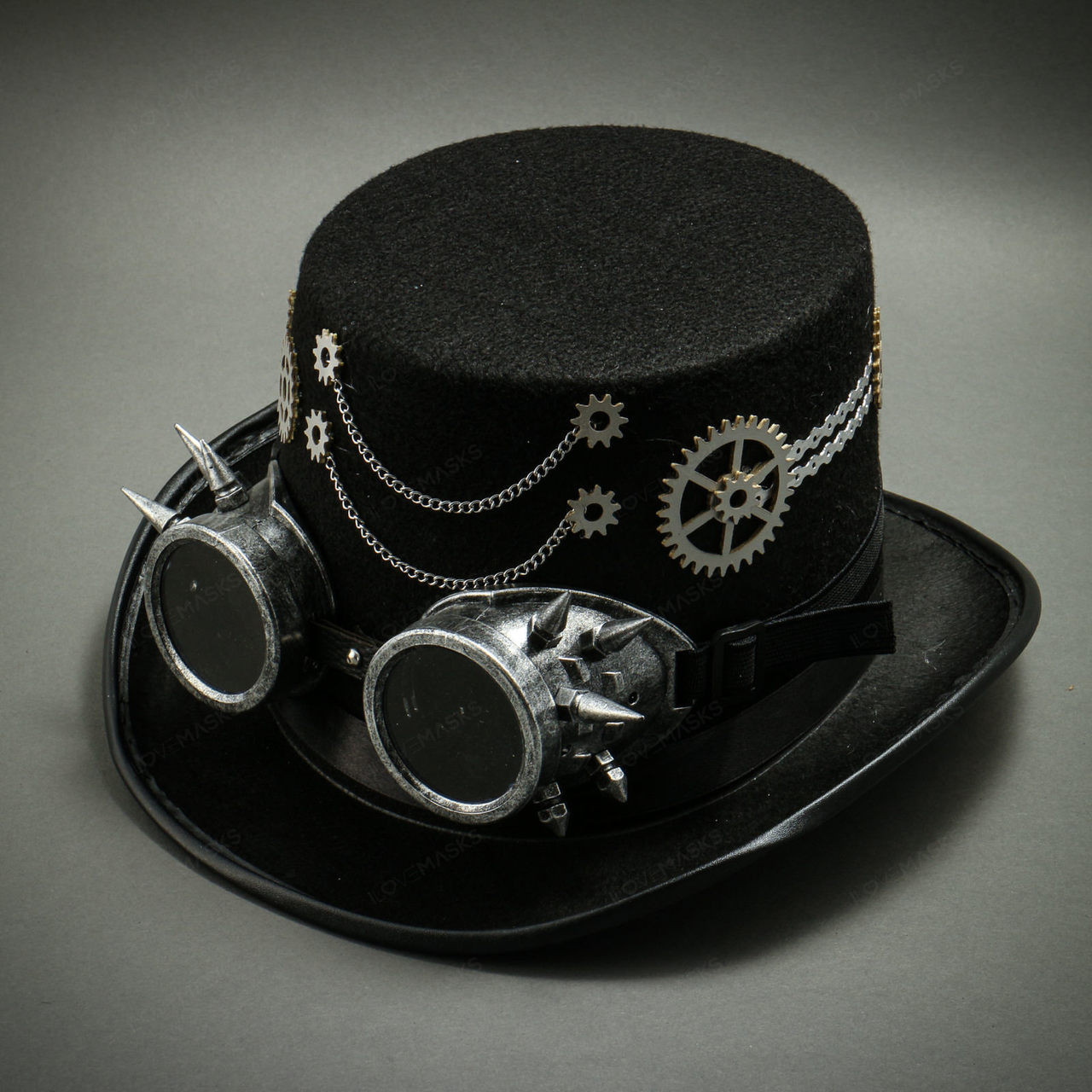 Beroemd Steampunk Burning Man Top Hat with Chaines & Goggles- Black &XA04